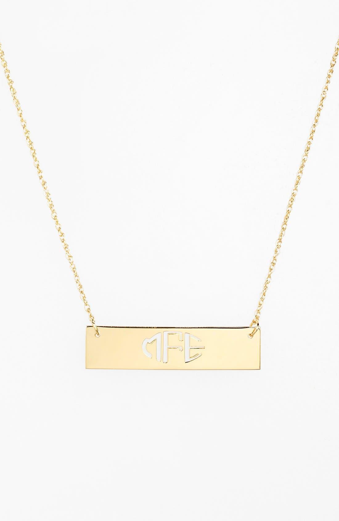 Personalized Cutout Bar Pendant Necklace,                         Main,                         color, Gold