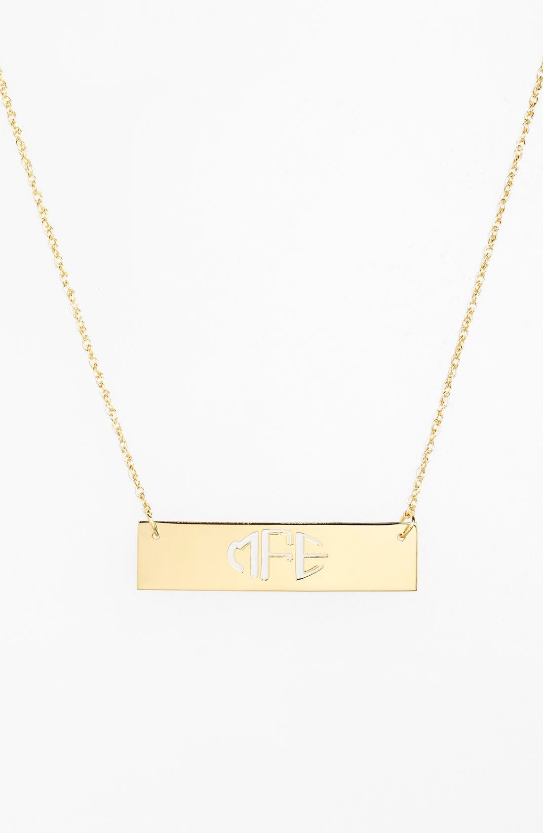 Jane Basch Designs Personalized Cutout Bar Pendant Necklace