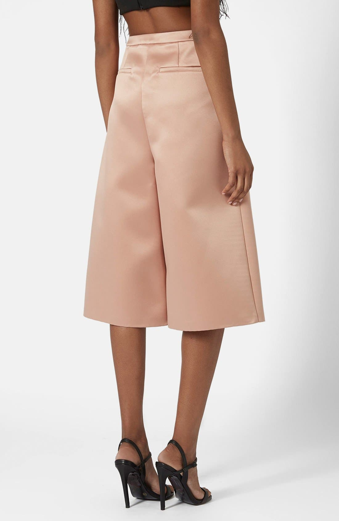 Alternate Image 2  - Topshop Pleated Satin Culottes