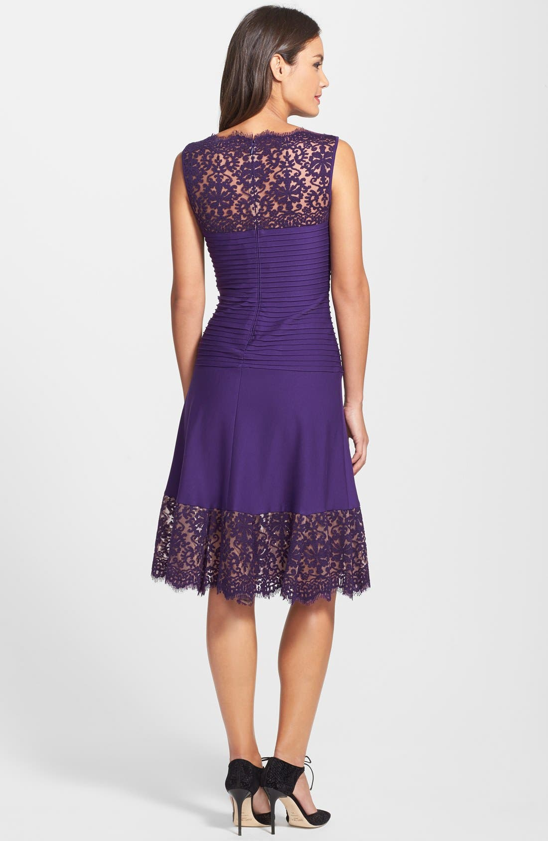 Alternate Image 2  - Tadashi Shoji Lace Trim Pintuck Jersey Fit & Flare Dress
