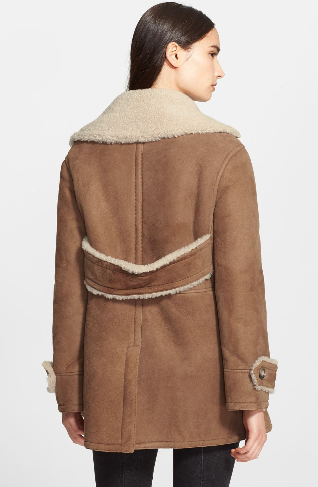 Alternate Image 4  - Burberry Brit 'Drakefield' Double Breasted Genuine Shearling Coat
