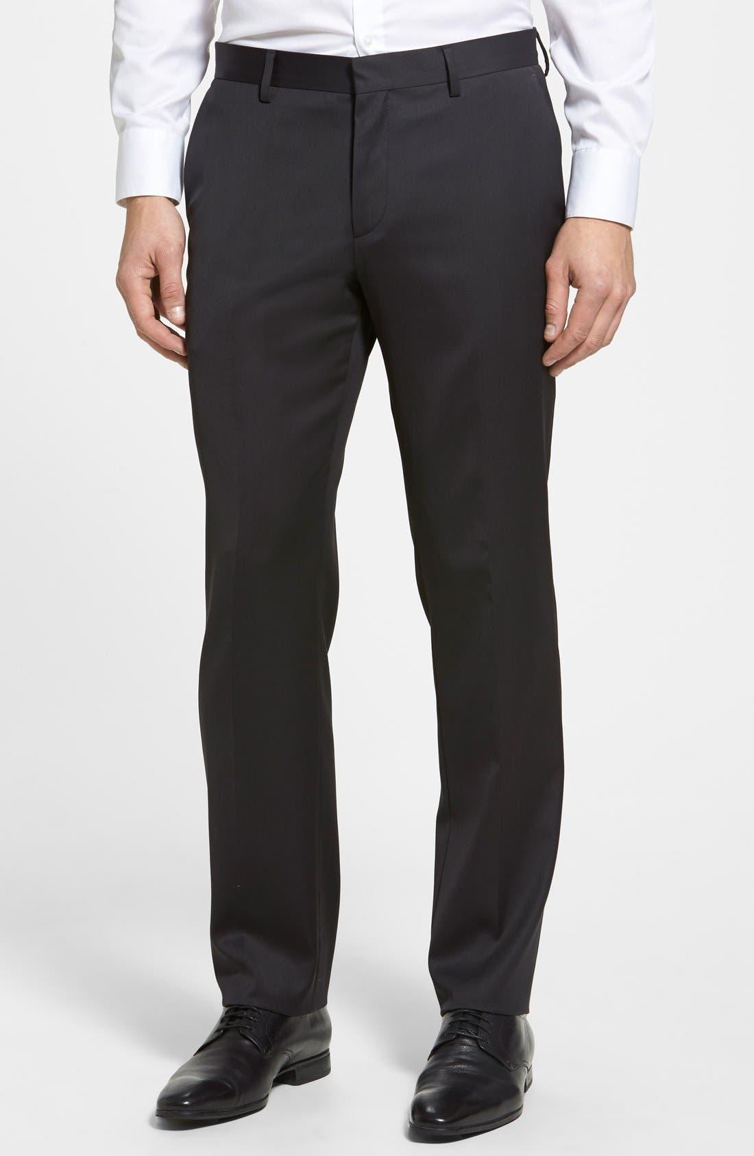 BOSS HUGO BOSS 'Genesis' Flat Front Wool Blend Trousers