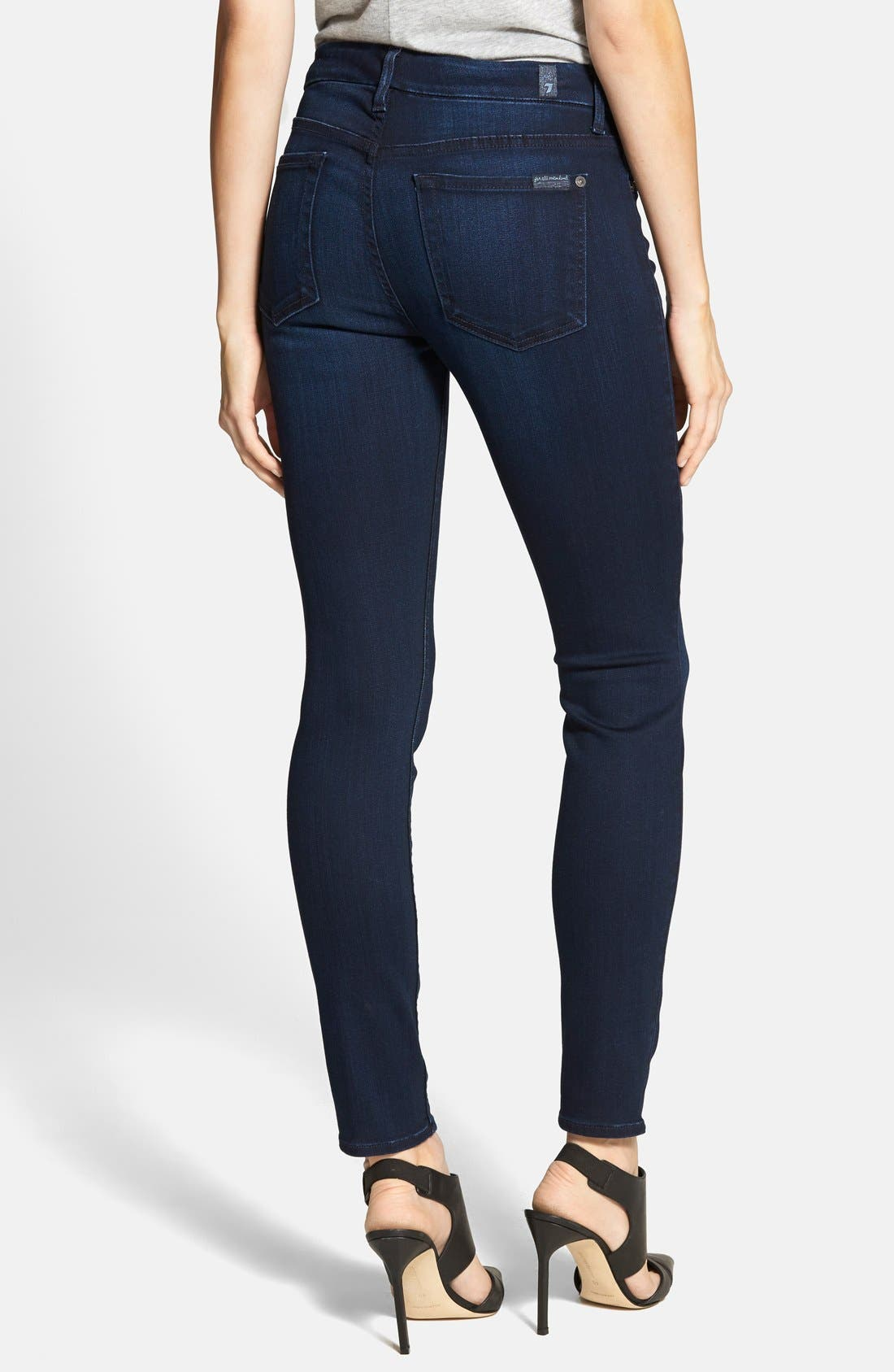Alternate Image 2  - 7 For All Mankind® 'The Ankle Skinny' Contour Jeans (Pristine Blue Black)