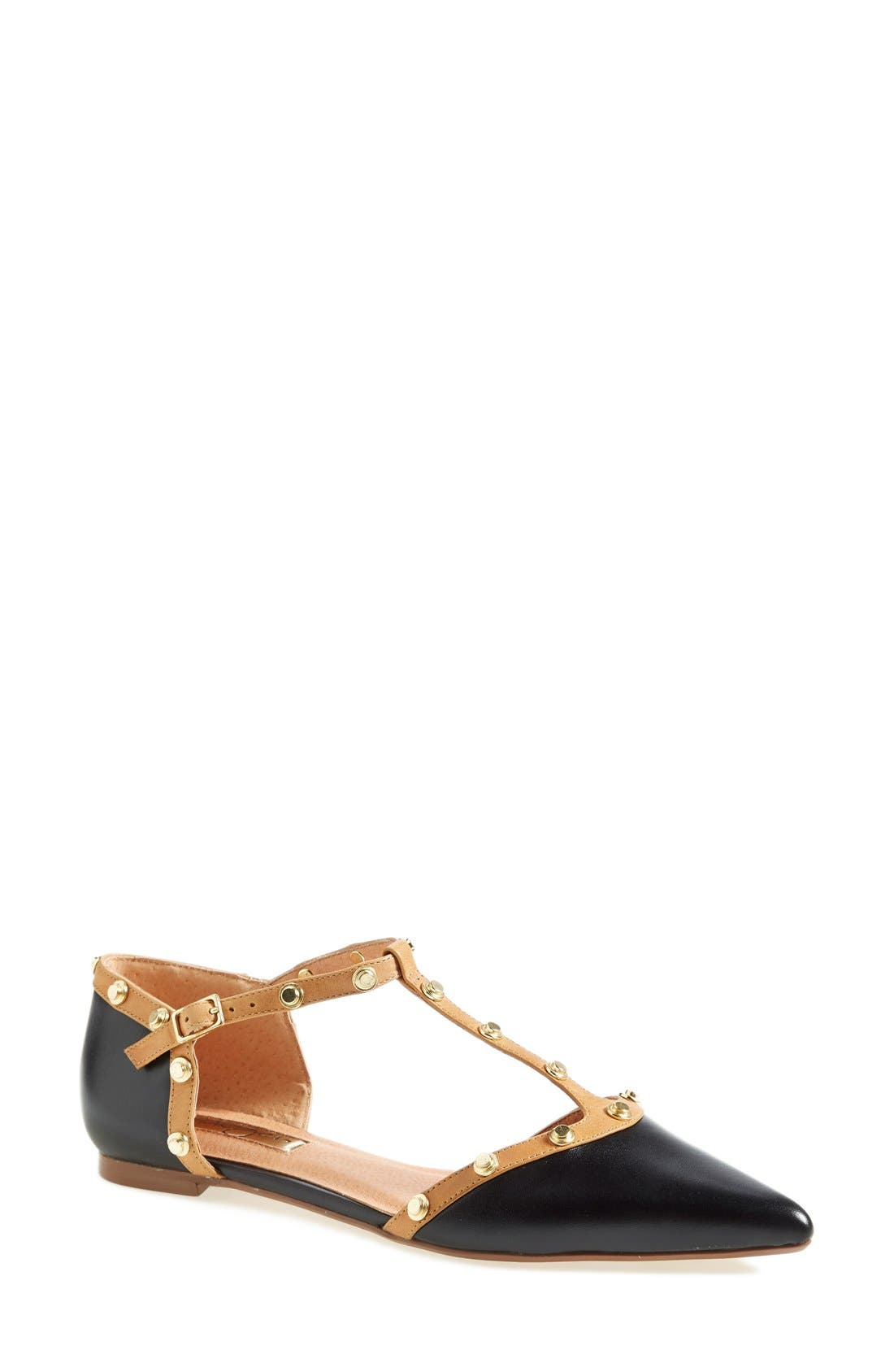 'Olson' Pointy Toe Studded T-Strap Flat,                         Main,                         color, Black Leather