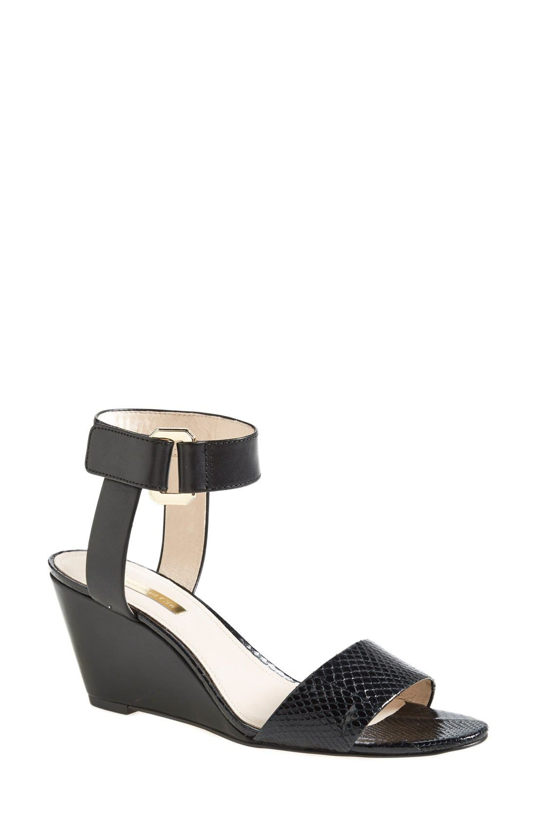 Alternate Image 1 Selected - Louise et Cie 'Phiona' Leather Ankle Strap Wedge Sandal (Women)