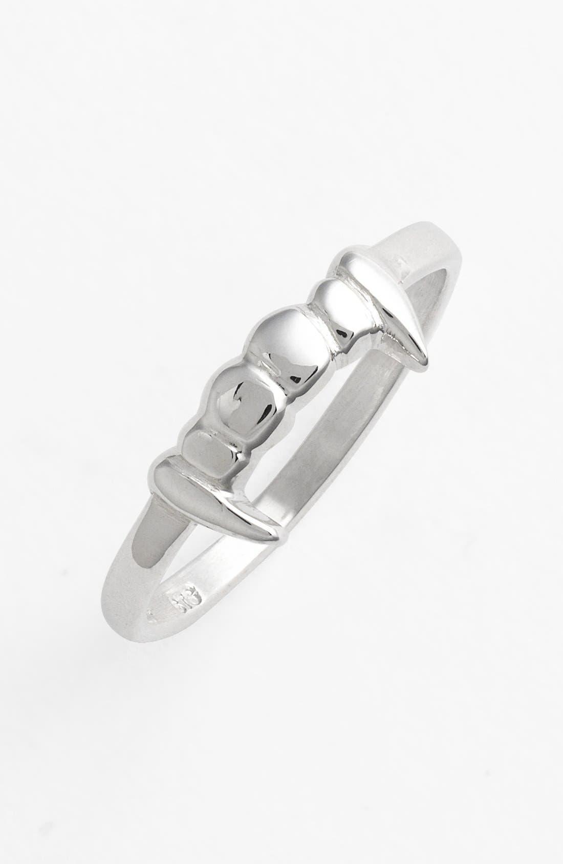 Fang Sterling Silver Stacker Ring,                             Main thumbnail 1, color,                             Silver