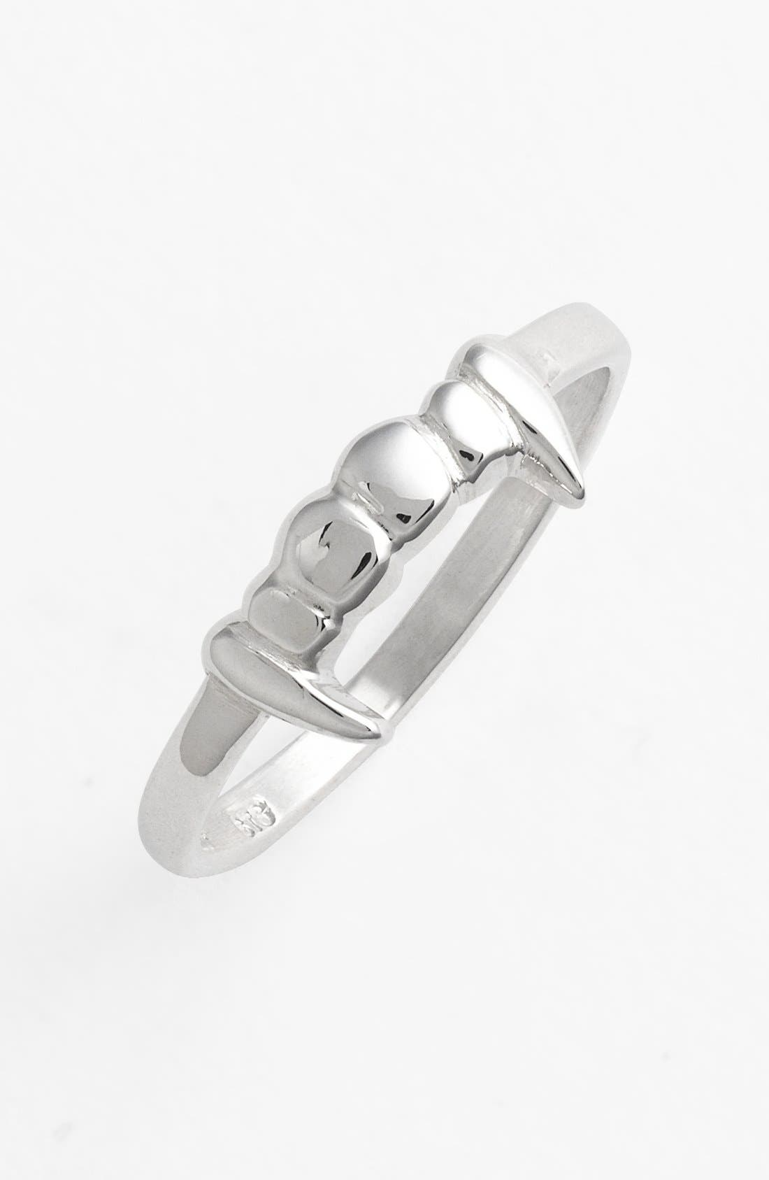 Fang Sterling Silver Stacker Ring,                         Main,                         color, Silver