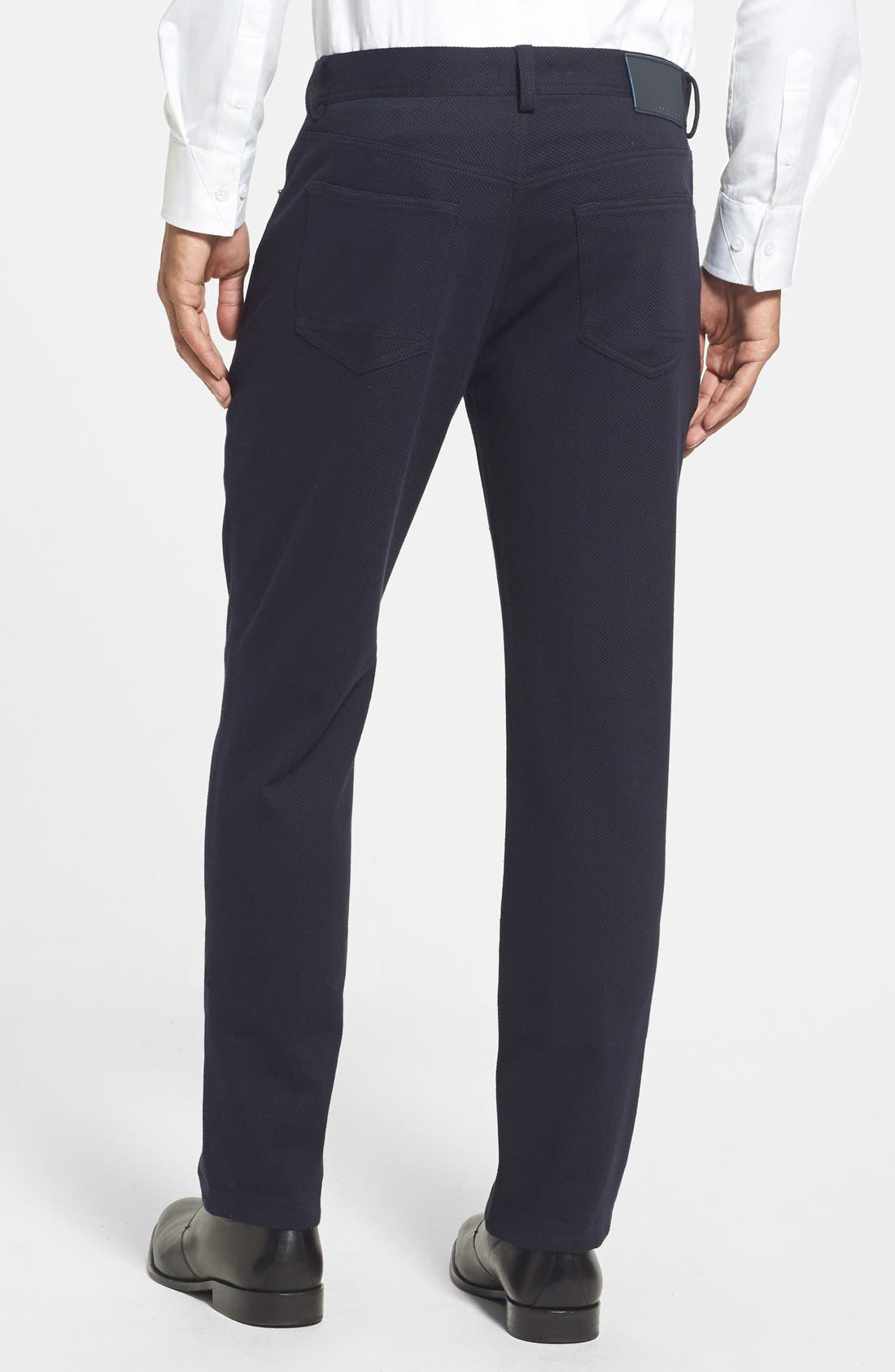 Straight Leg Five Pocket Stretch Pants,                             Alternate thumbnail 2, color,                             Black Crosshatch