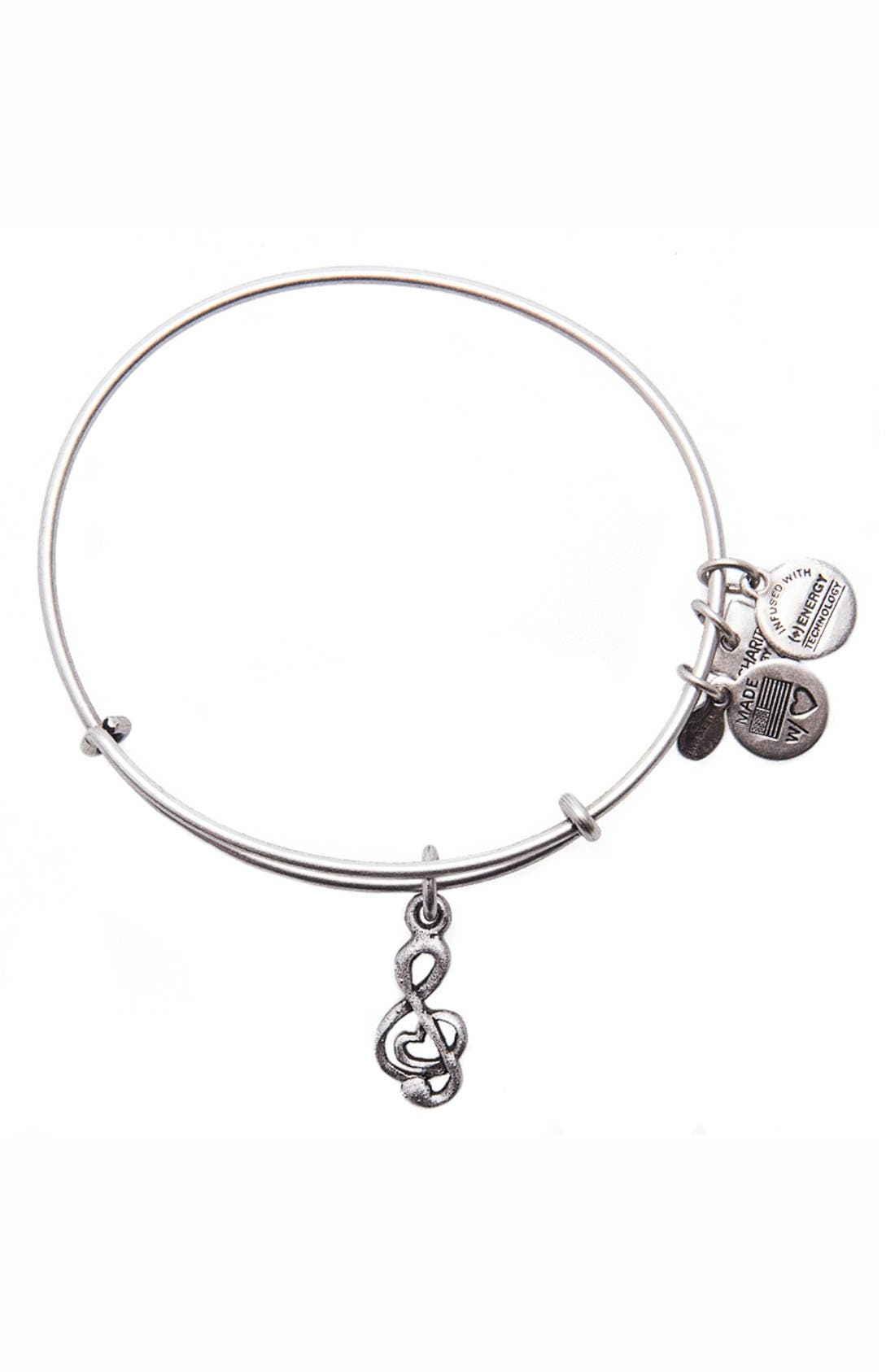 'Charity by Design - Sweet Melody' Expandable Wire Bangle,                             Main thumbnail 1, color,                             Silver