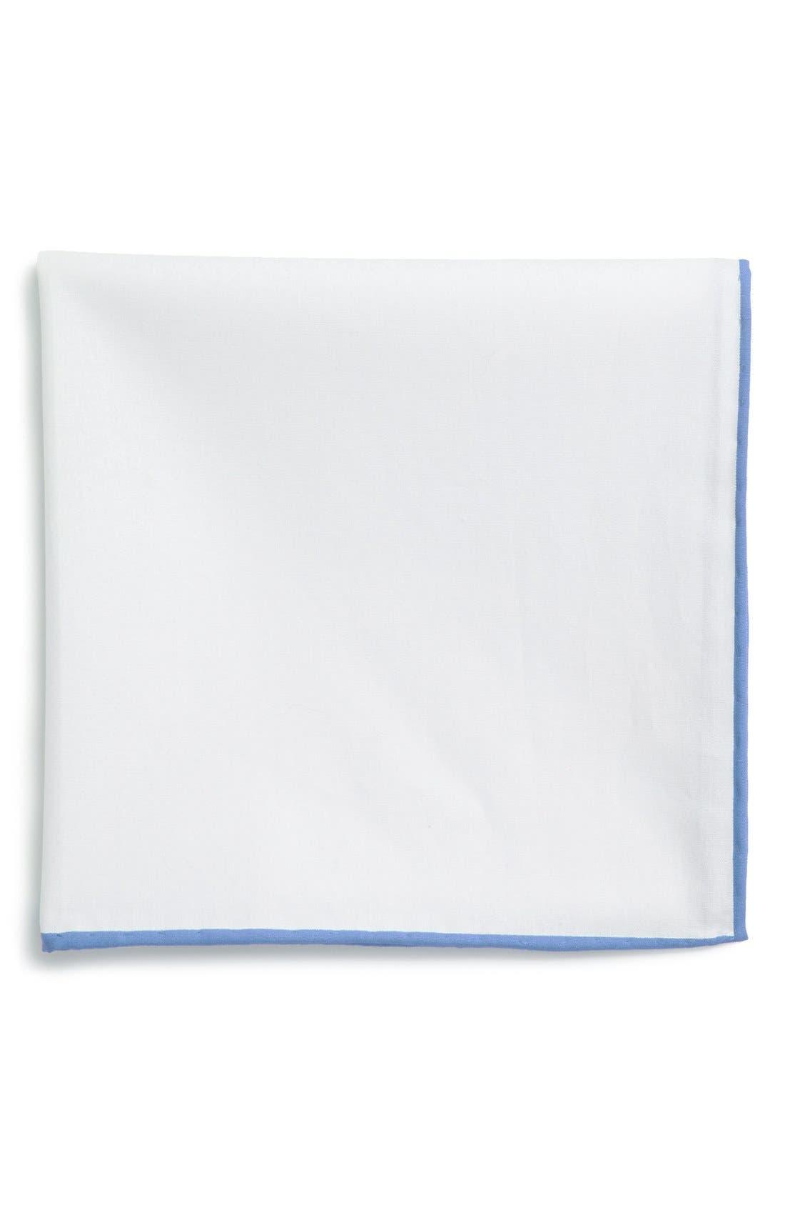 Cotton Solid Pocket Square,                         Main,                         color, White/ Light Blue