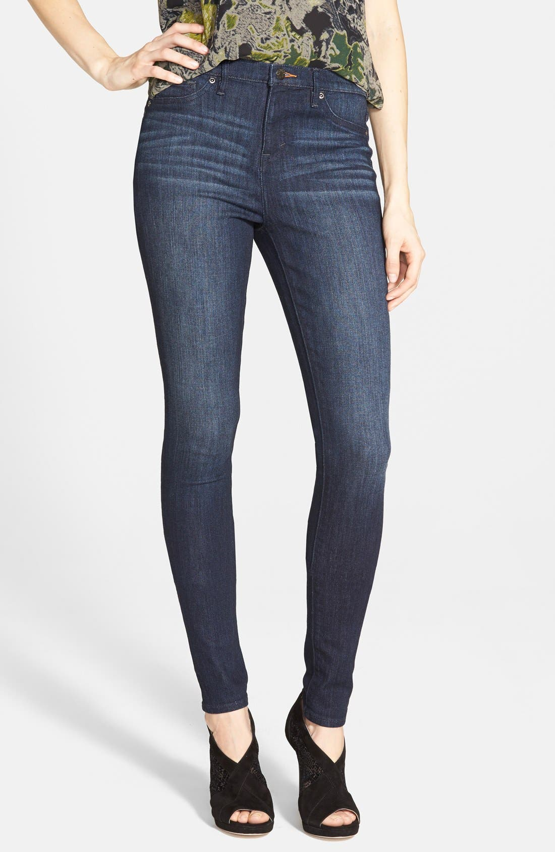 Main Image - Dittos Mid Rise Super Skinny Jeans (Blue)