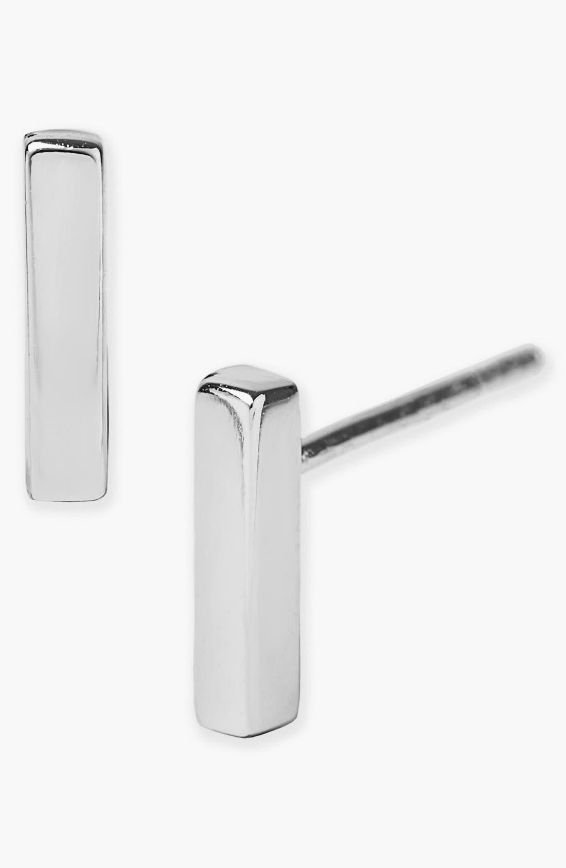 Bar Stud Earrings,                         Main,                         color, Silver
