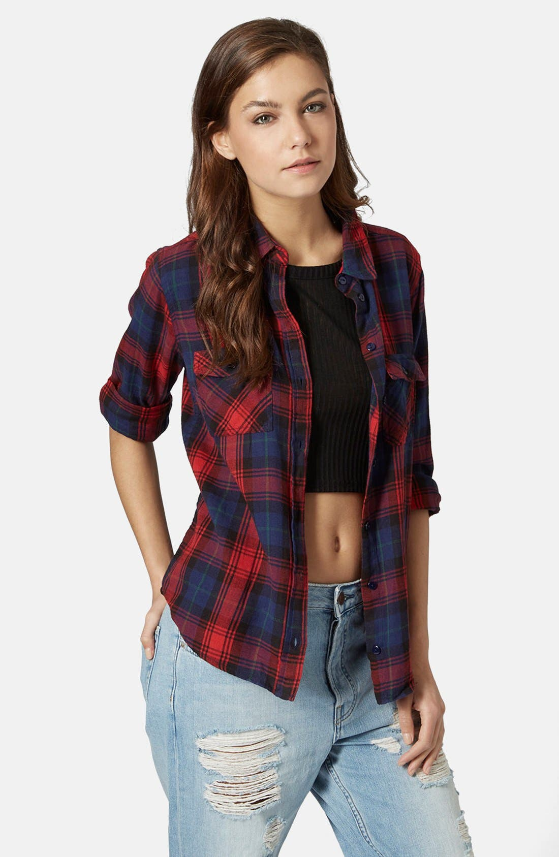 Main Image - Topshop 'Izzy' Long Sleeve Check Shirt