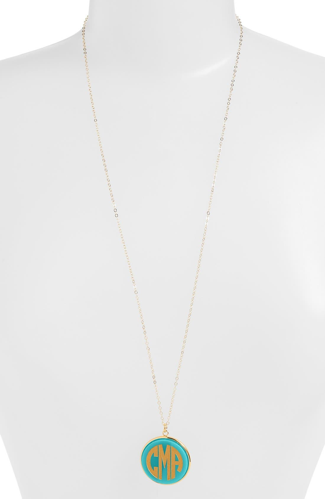 'Vineyard' Personalized Monogram Pendant Necklace,                         Main,                         color, Robins Egg