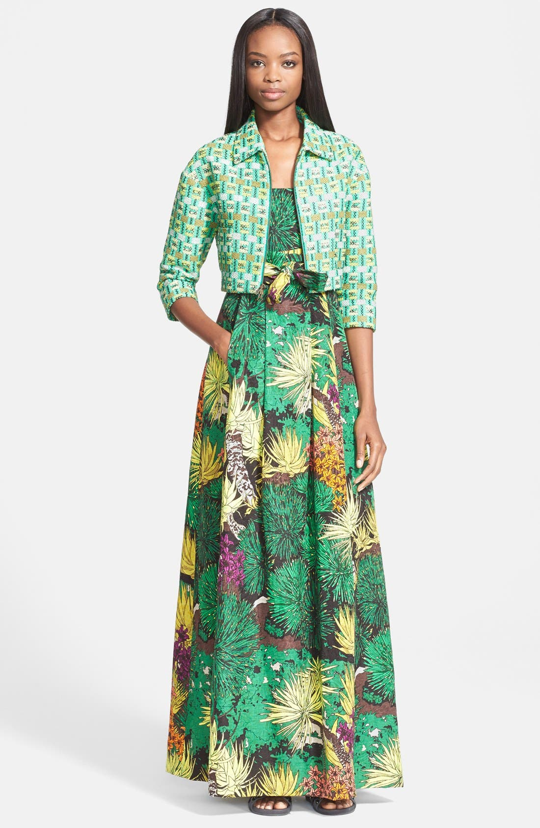 Alternate Image 4  - Tracy Reese Cactus Flower Print Strapless Gown