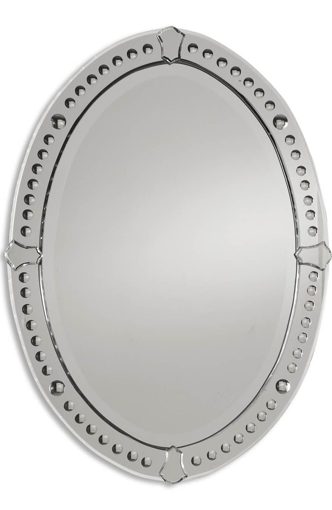 'Graziano' Frameless Oval Mirror,                             Main thumbnail 1, color,                             Brown