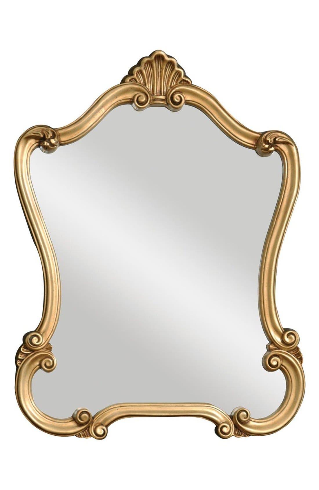'Walton Hall' Antiqued Goldtone Vanity Mirror,                         Main,                         color, Gold