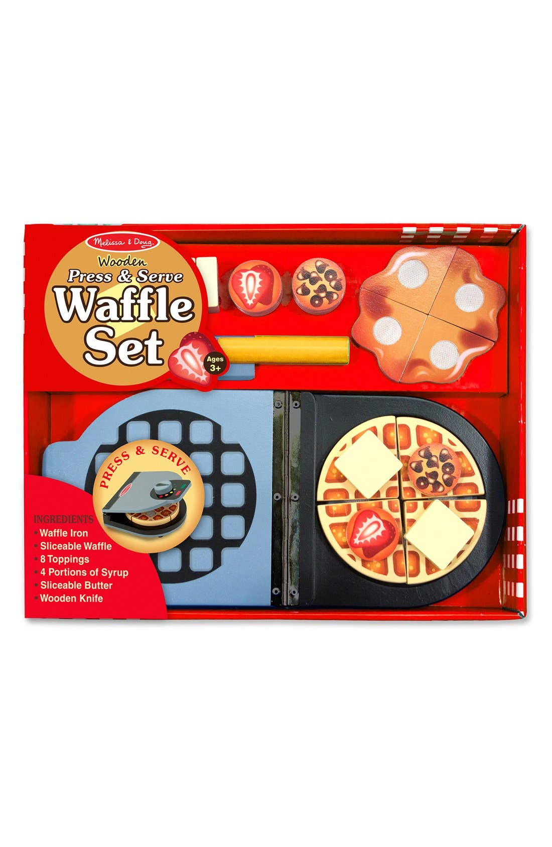 'Press & Serve' Wooden Waffle Set,                         Main,                         color, Red