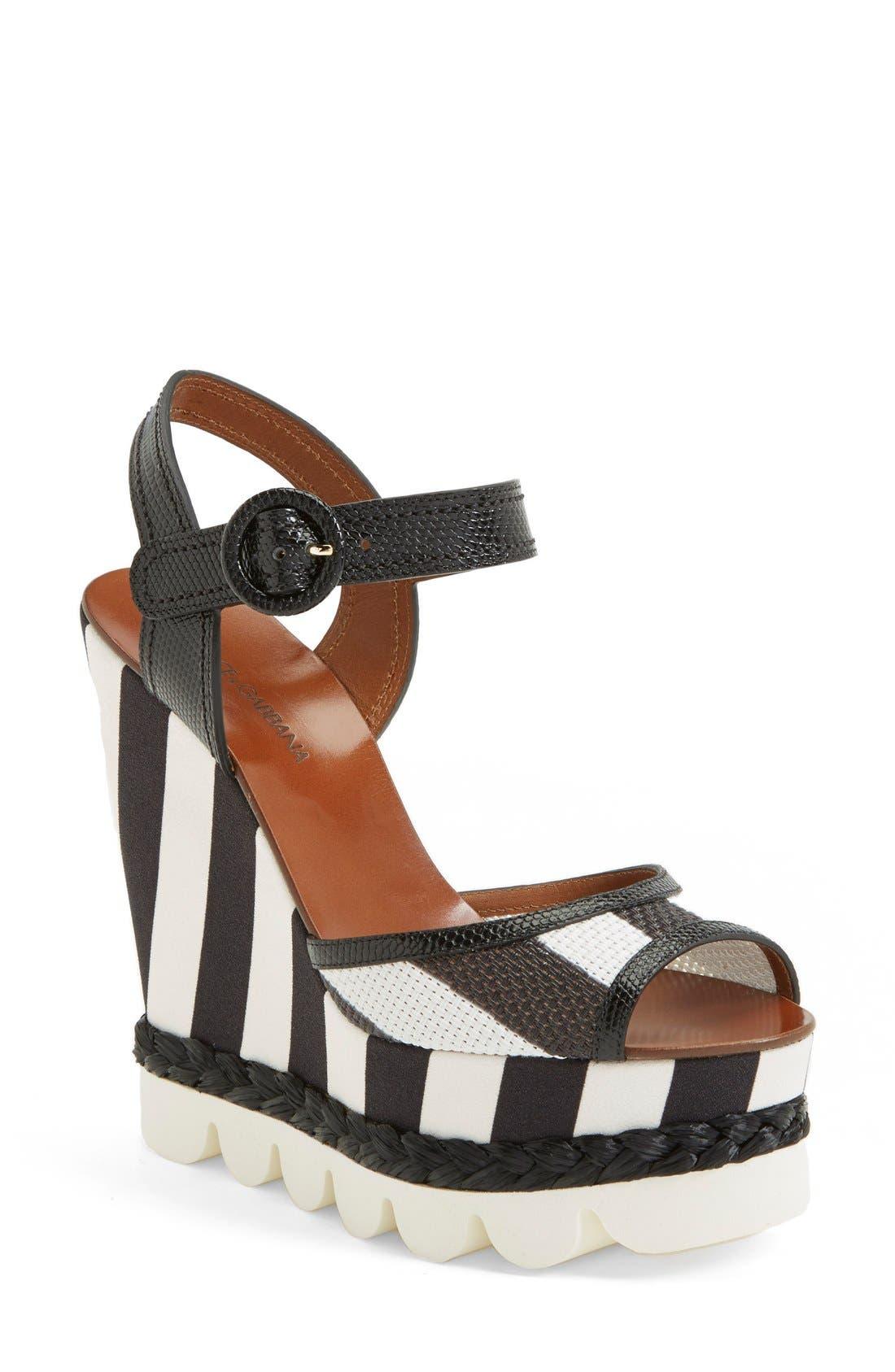 Main Image - Dolce&Gabbana Stripe Platform Wedge Sandal (Women)