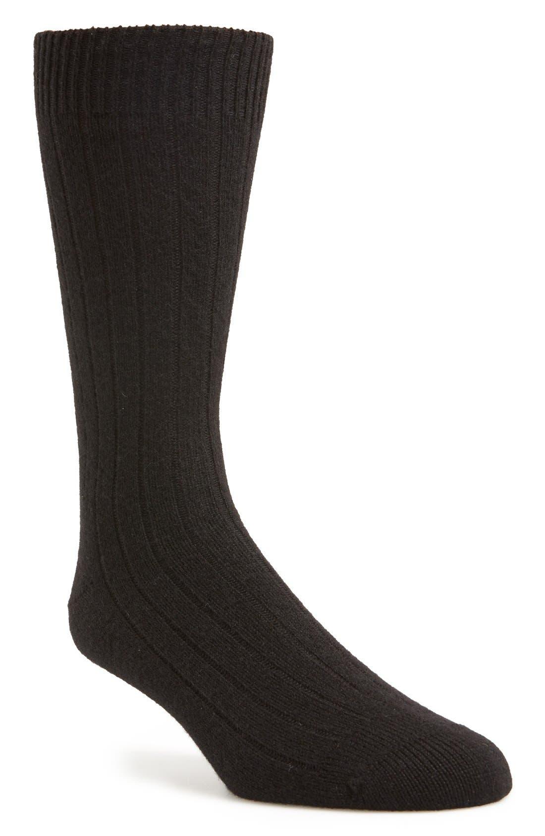 'Waddington' Cashmere Blend Mid Calf Socks,                             Main thumbnail 1, color,                             Black