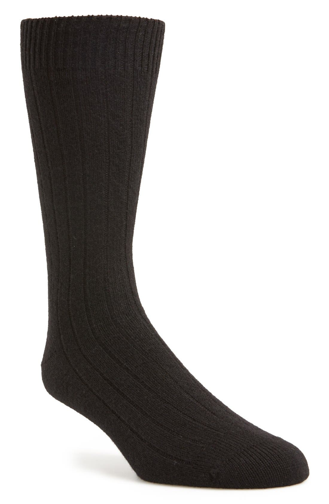 'Waddington' Cashmere Blend Mid Calf Socks,                         Main,                         color, Black