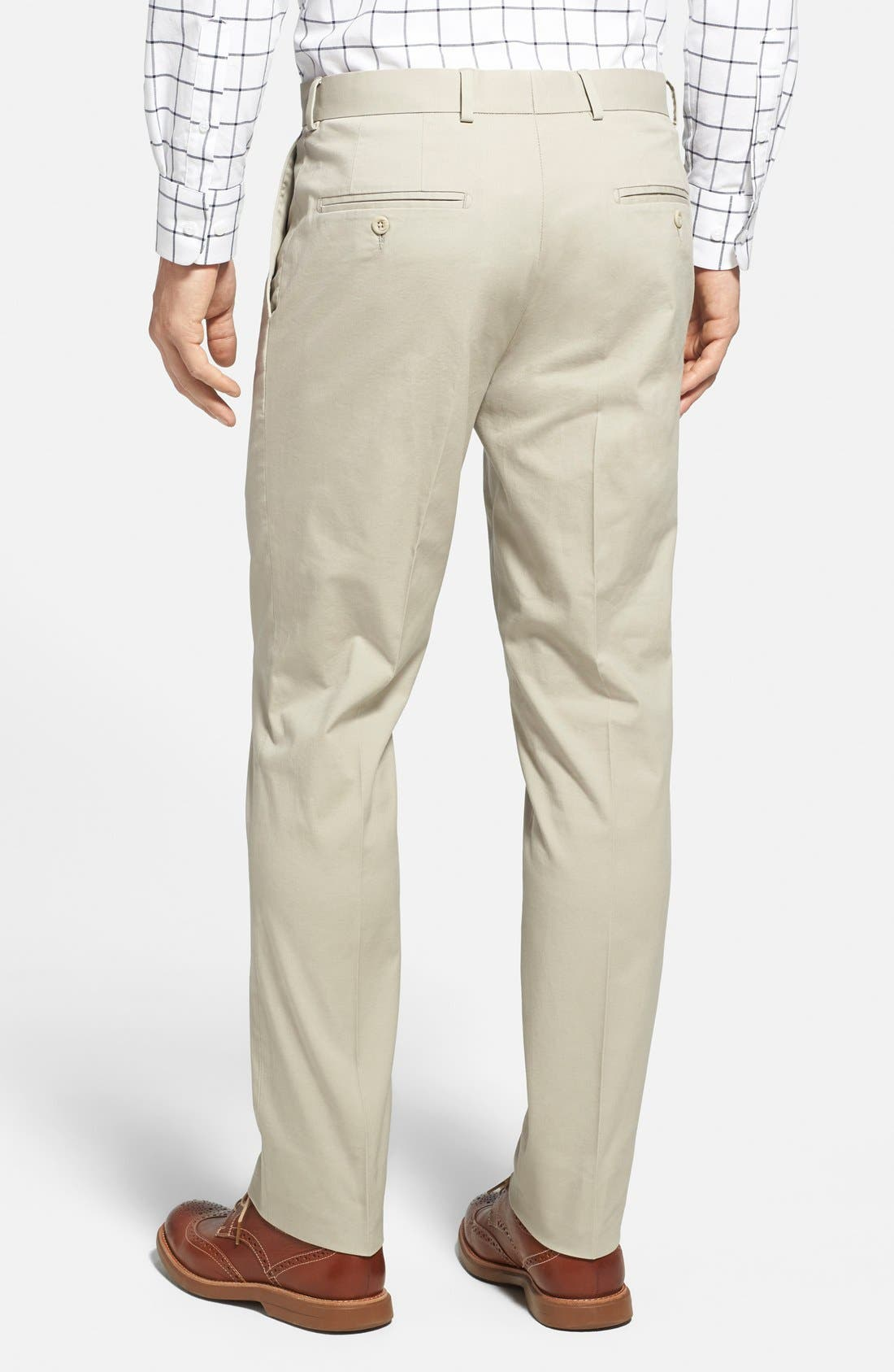 Washed Trim Fit Stretch Cotton Trousers,                             Alternate thumbnail 2, color,                             Stone