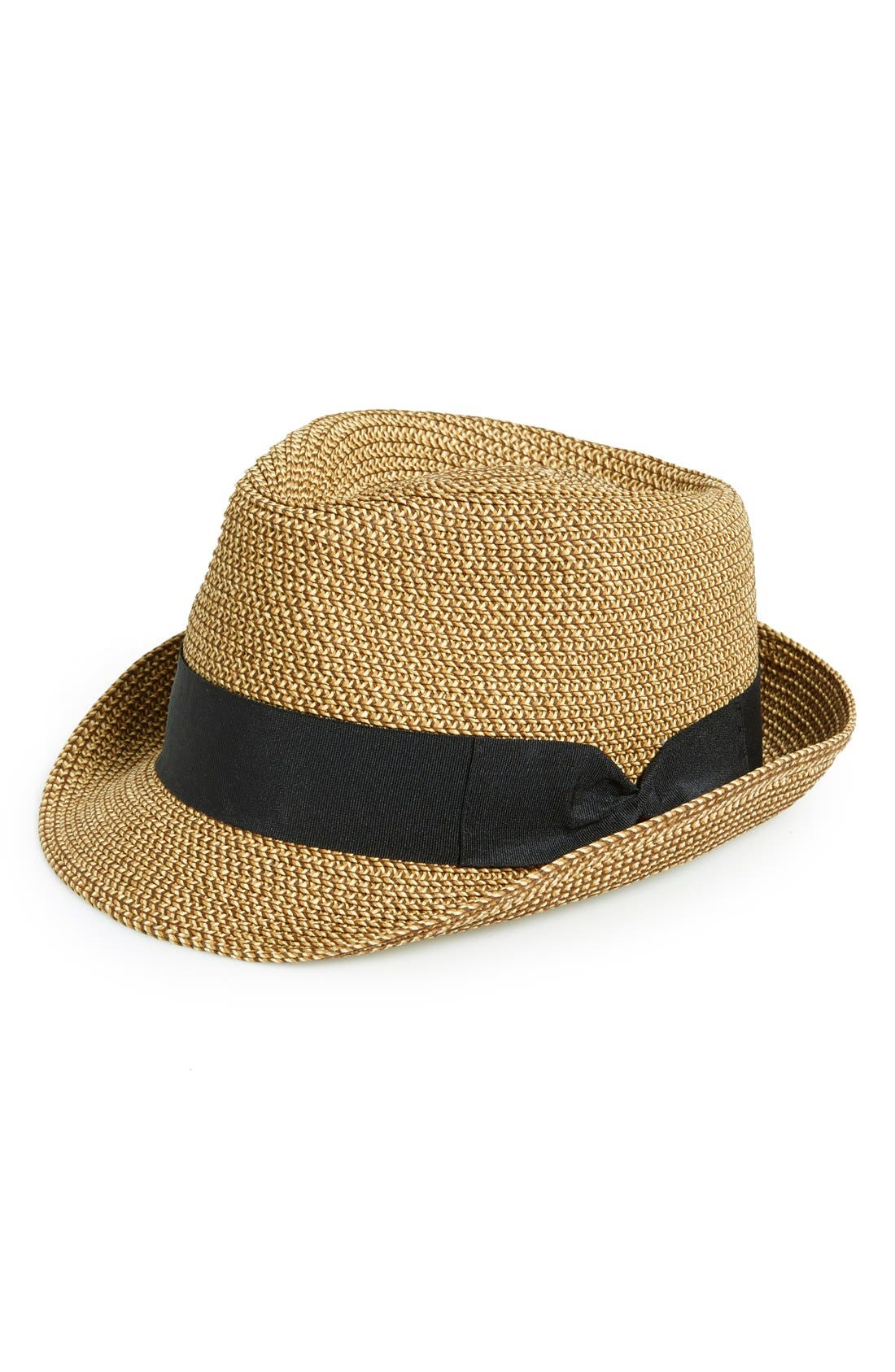 Straw Fedora,                             Main thumbnail 1, color,                             Natural/ Black
