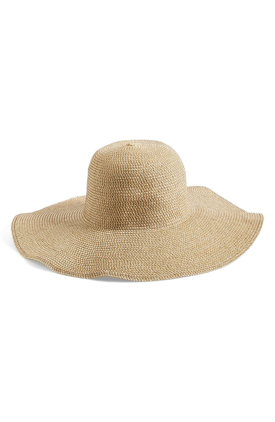 Floppy Straw Look Hat,                             Main thumbnail 1, color,                             Natural