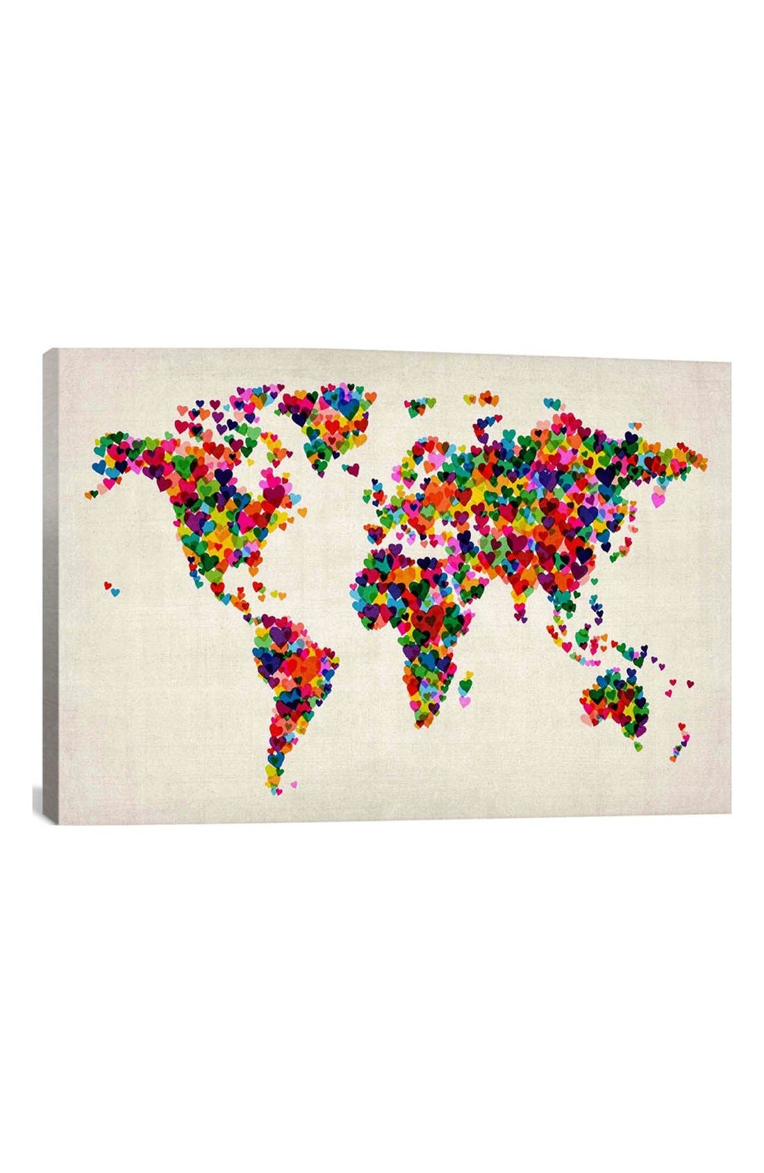 'World Map Hearts - Michael Thompsett' Giclée Print Canvas Art,                             Main thumbnail 1, color,                             White/ Multi