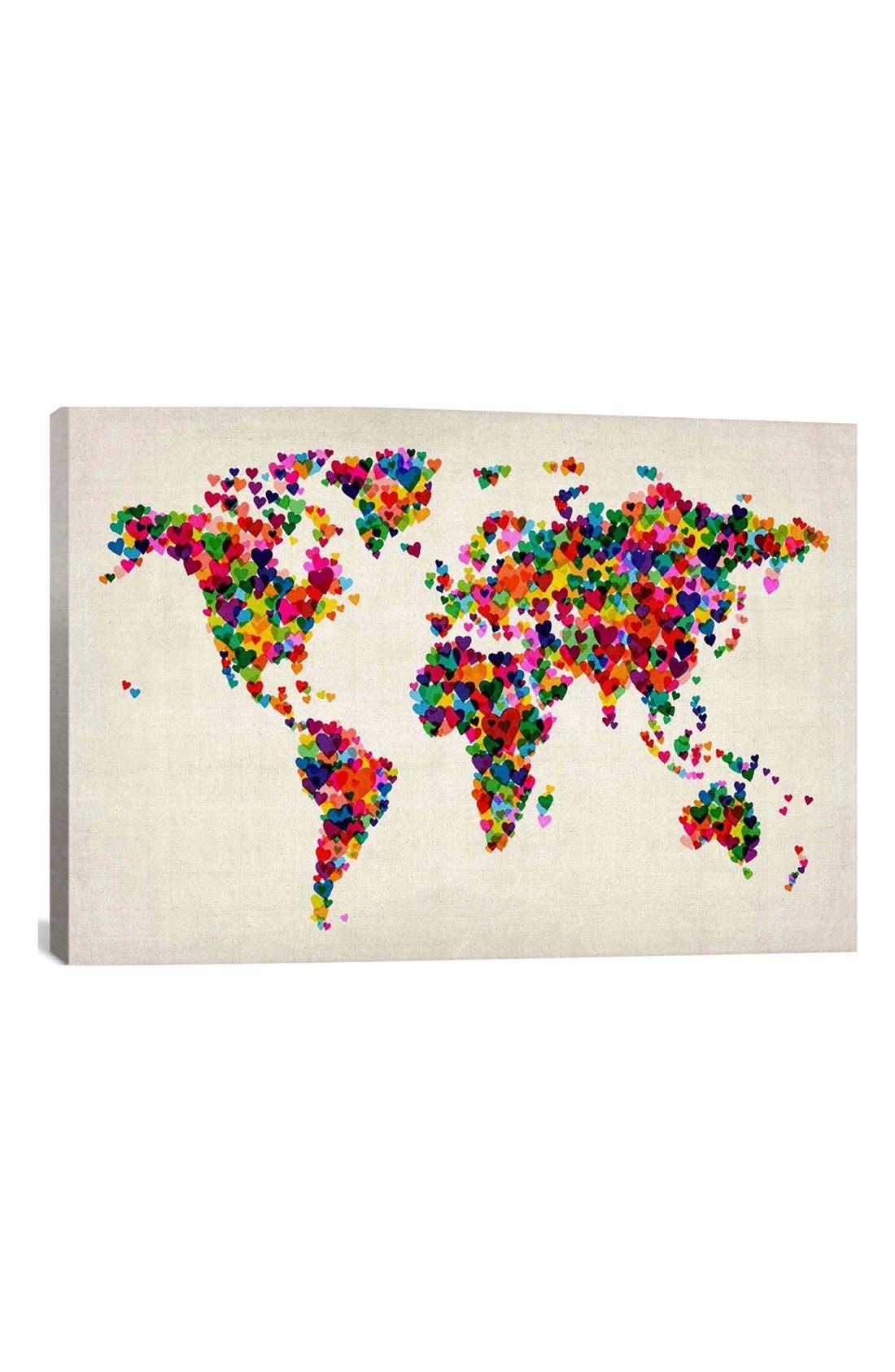 Main Image - iCanvas 'World Map Hearts - Michael Thompsett' Giclée Print Canvas Art