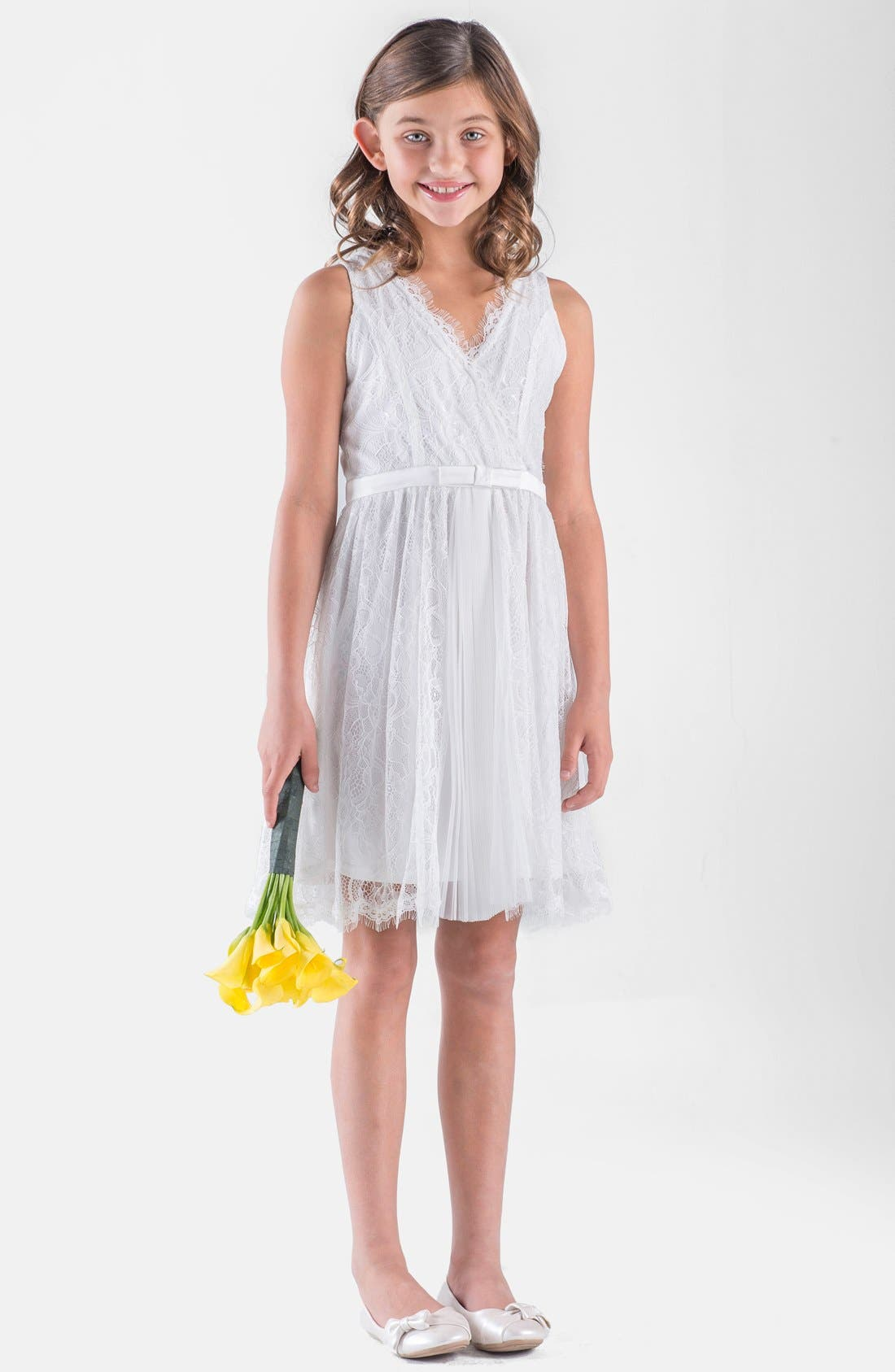 Lace Sleeveless Wrap Dress,                         Main,                         color, Ivory