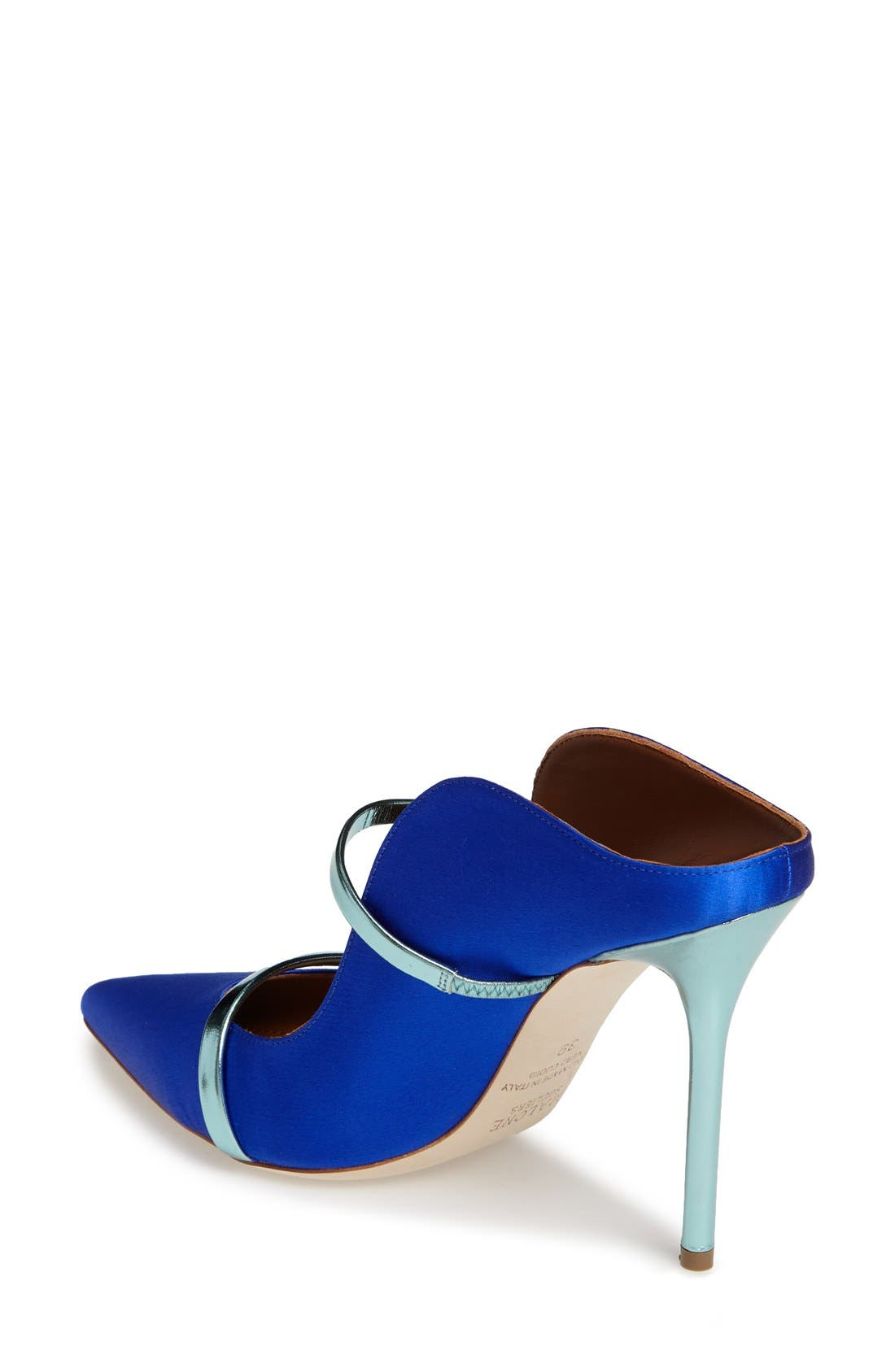 'Maureen' Pointy Toe Mule,                             Alternate thumbnail 2, color,                             Blue Satin