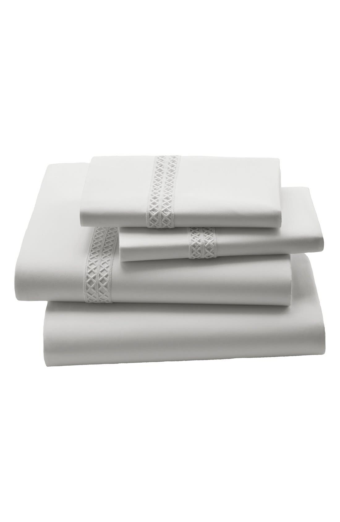 Emilia 210 Thread Count Fitted Sheet,                             Main thumbnail 1, color,                             White