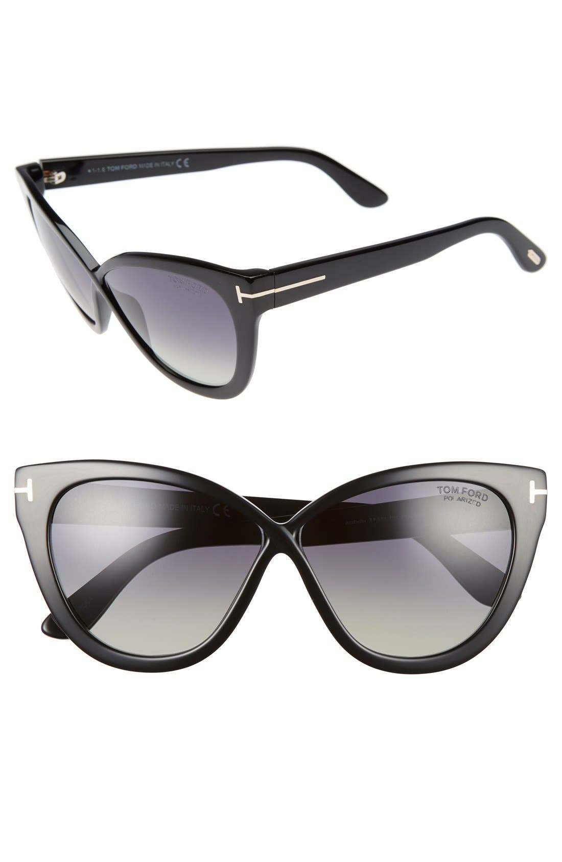 Arabella 59mm Cat Eye Sunglasses,                         Main,                         color, Black/ Polar Gradient Smoke