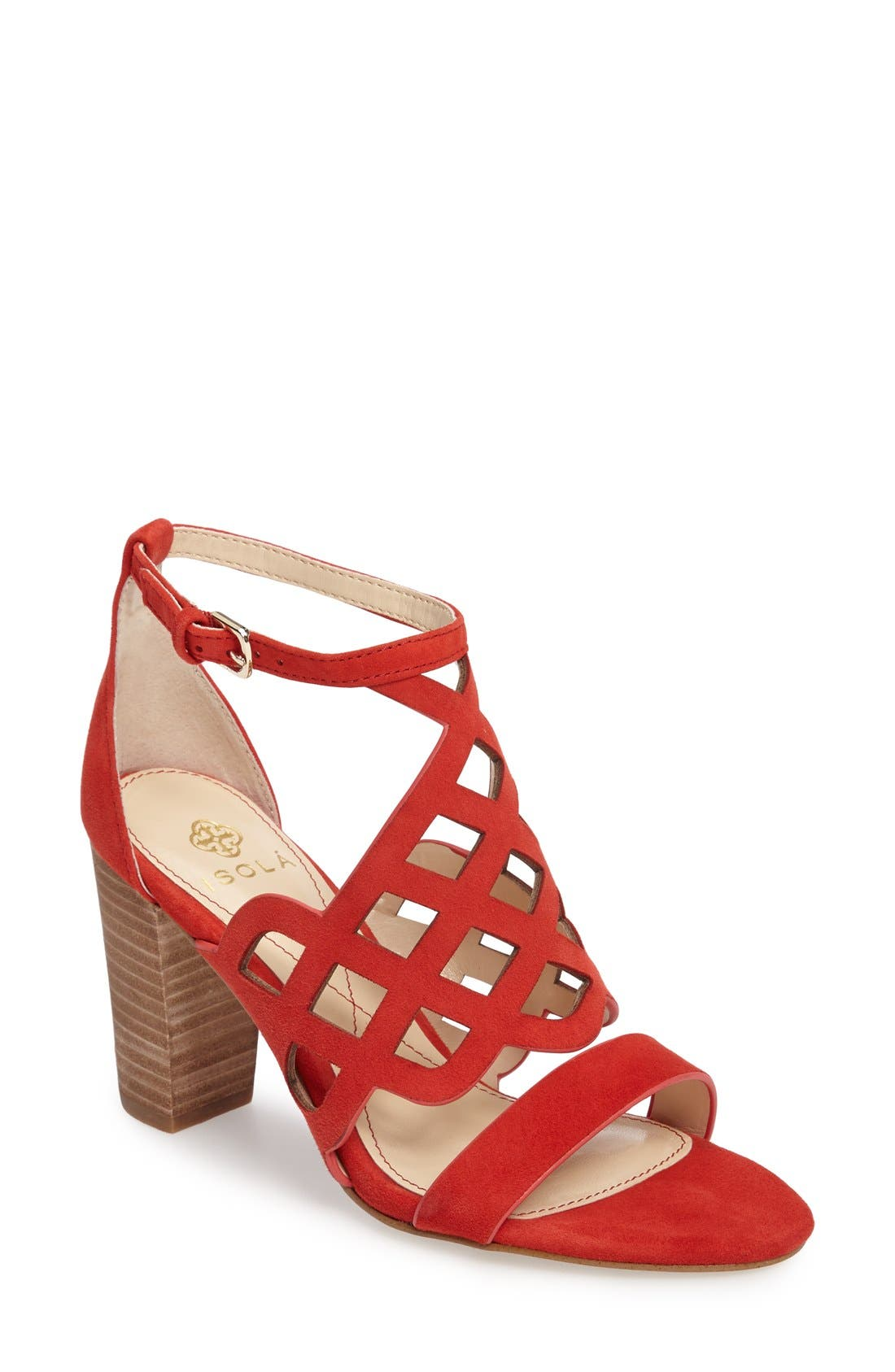 Despina Cutout Ankle Strap Sandal,                             Main thumbnail 1, color,                             Lipstick Red Suede