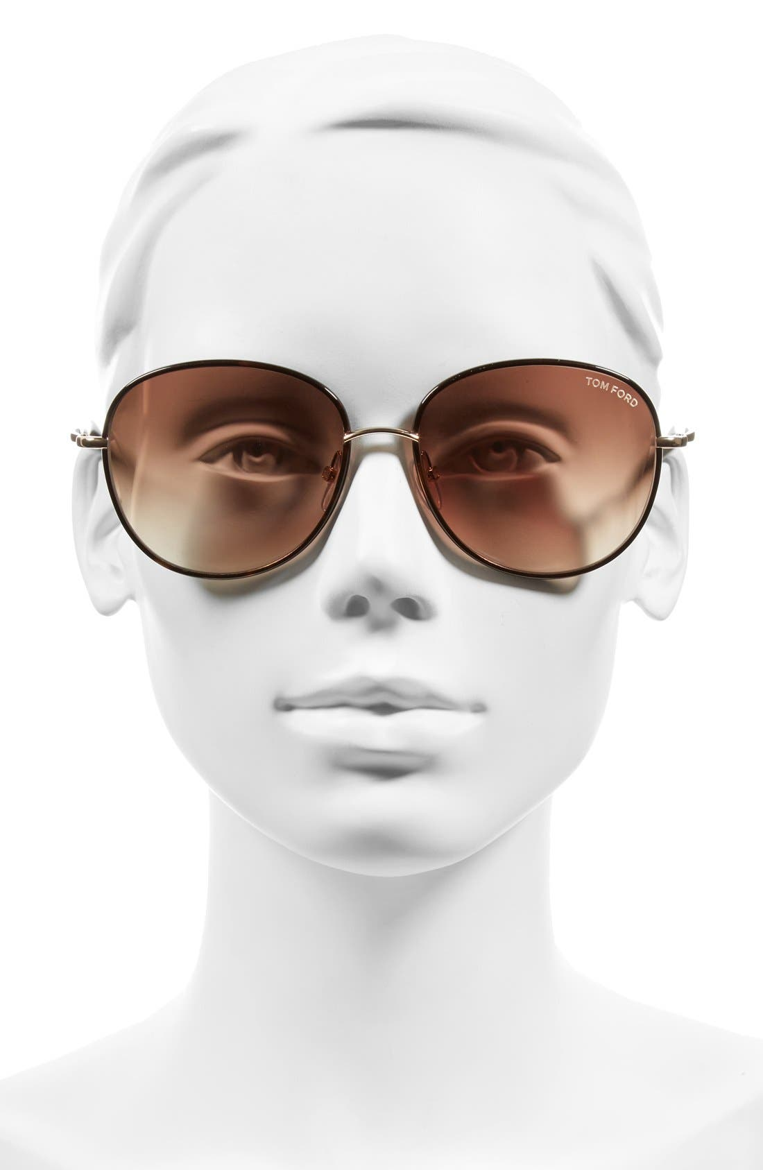 Georgia 59mm Sunglasses,                             Alternate thumbnail 2, color,                             Rose Gold/ Havana/ Brown