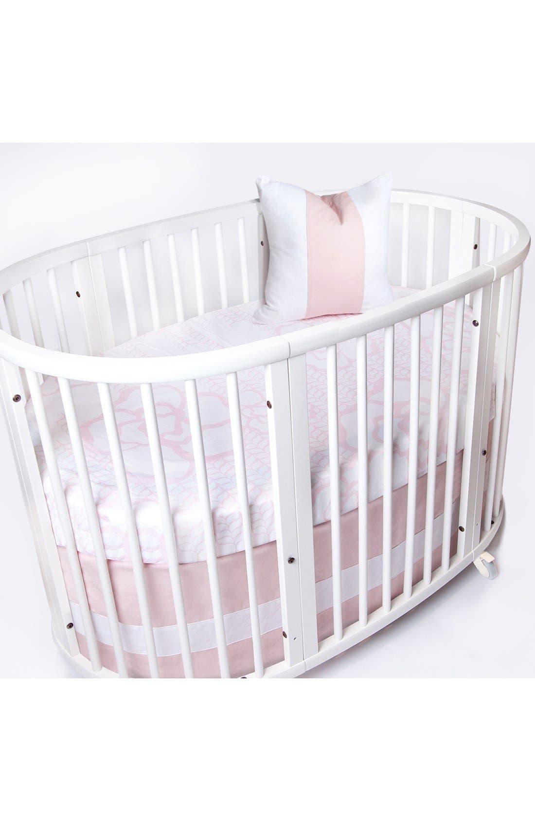 Woven Band Crib Skirt for Stokke Sleepi Crib,                         Main,                         color, Blush W/ White Band