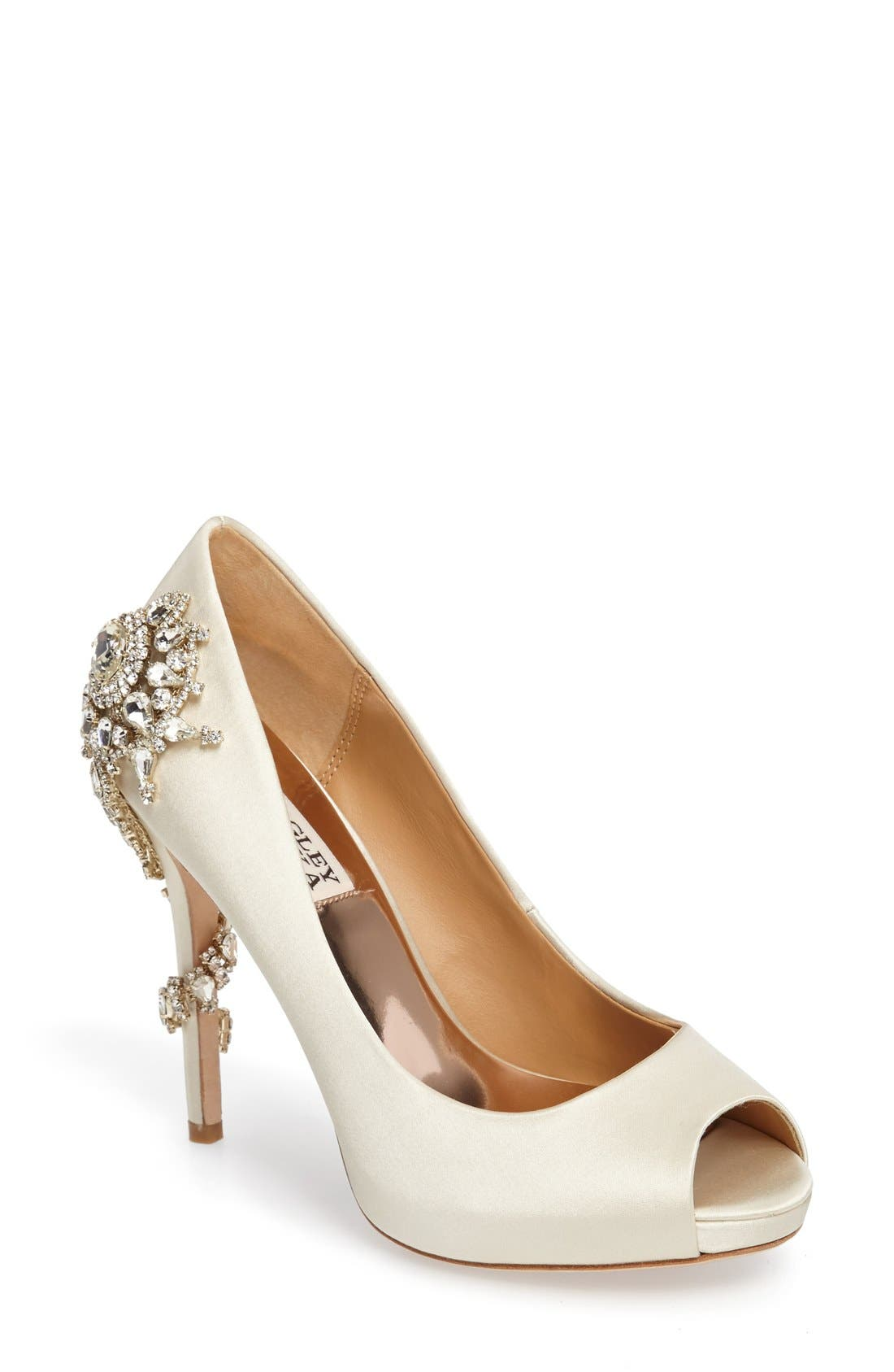 Badgley Mischka 'Royal' Crystal Embellished Peeptoe Pump (Women)
