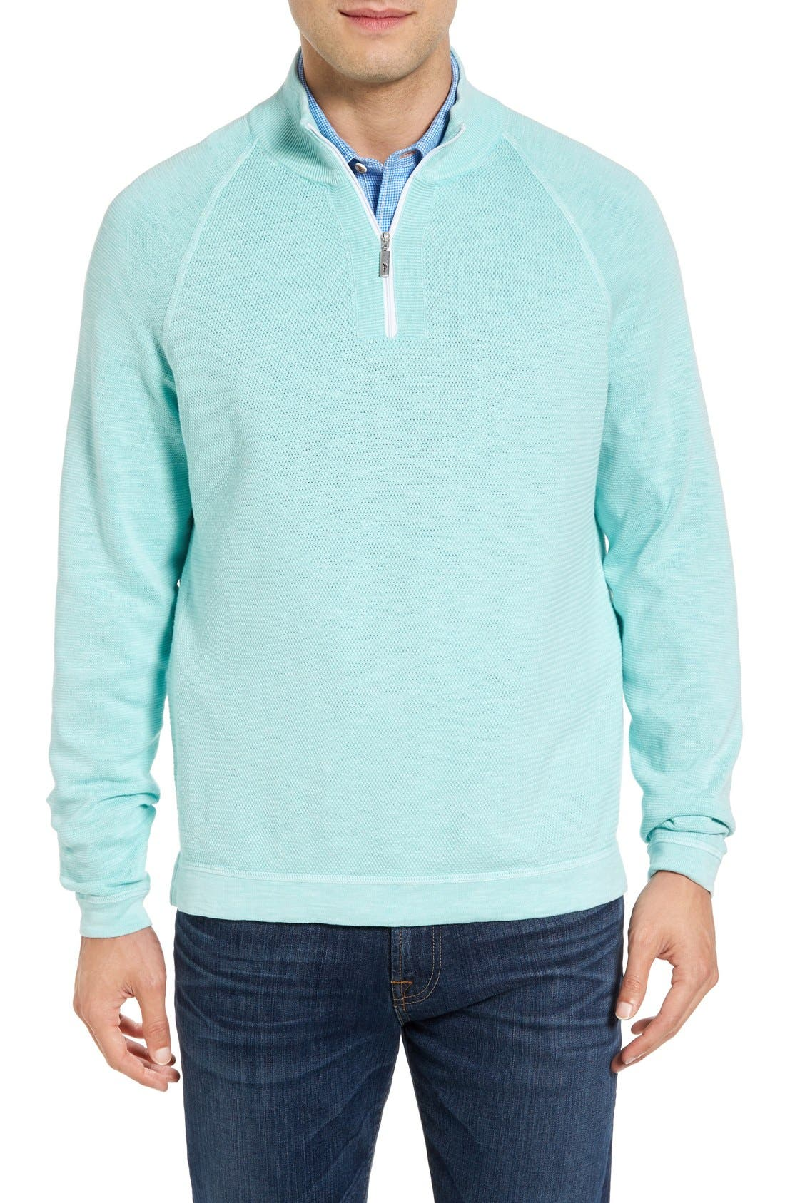 Saltwater Tide Half Zip Pullover,                             Main thumbnail 1, color,                             Aquarius