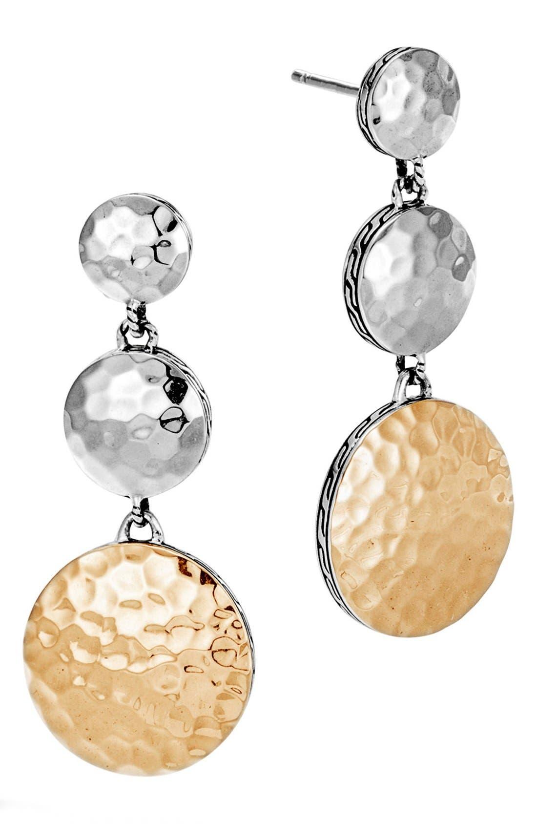 Dot Linear Drop Earrings,                             Main thumbnail 1, color,                             Silver/ Gold