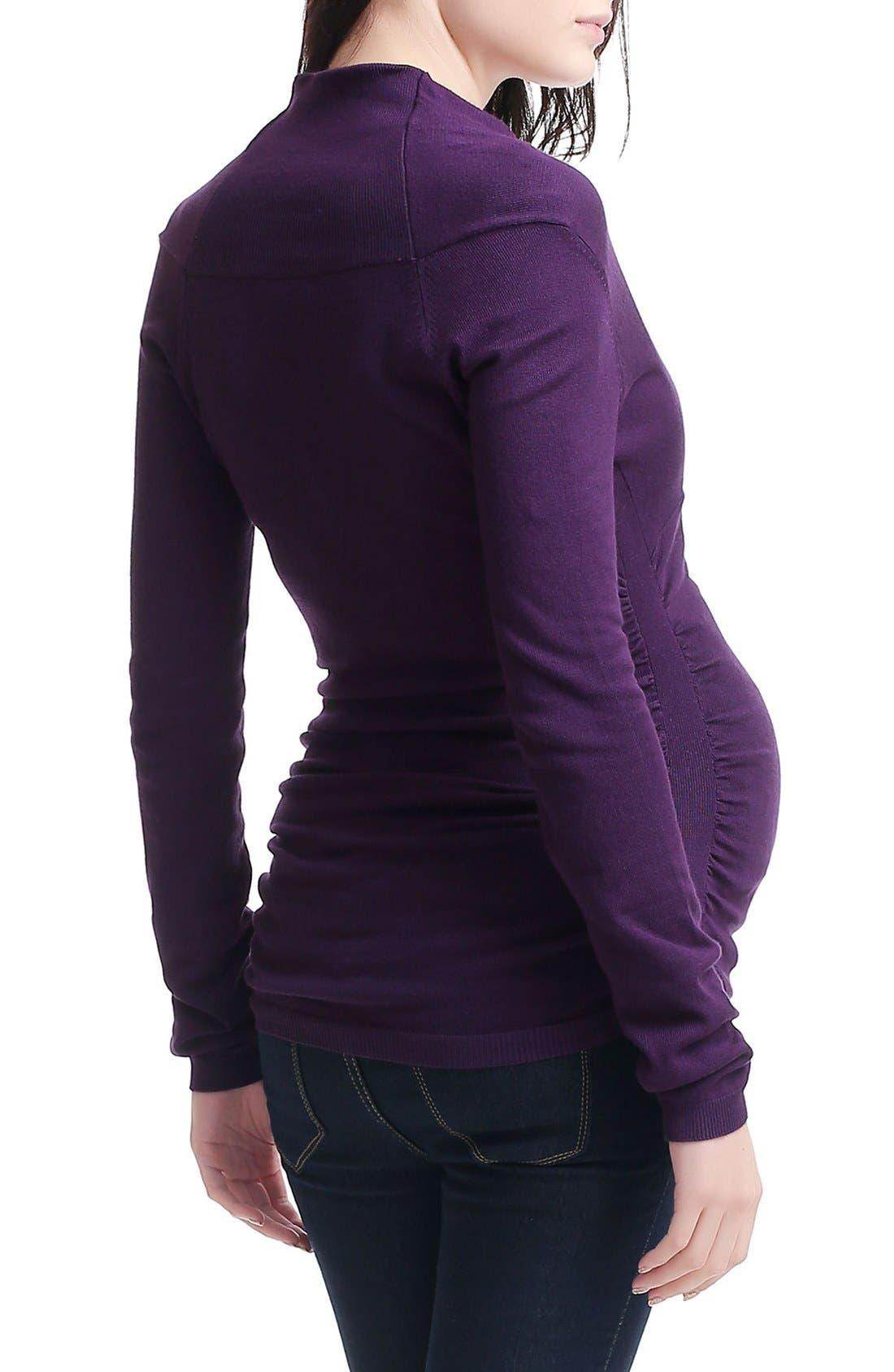 Olivia V-Neck Maternity Sweater,                             Alternate thumbnail 2, color,                             Dark Purple