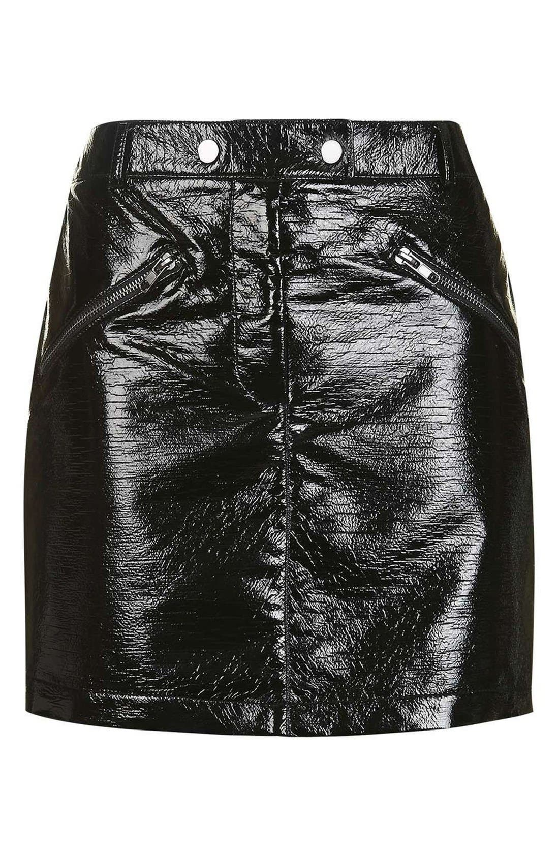 Alternate Image 4  - Topshop Faux Leather Miniskirt