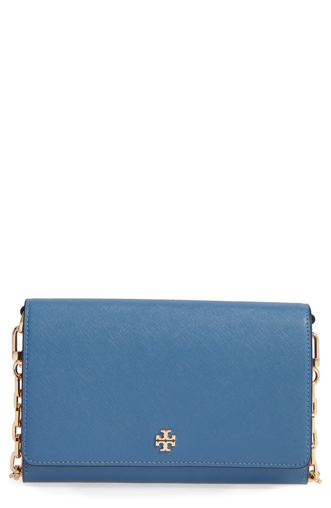 'Robinson' Leather Wallet on a Chain,                         Main,                         color, Wallis Blue