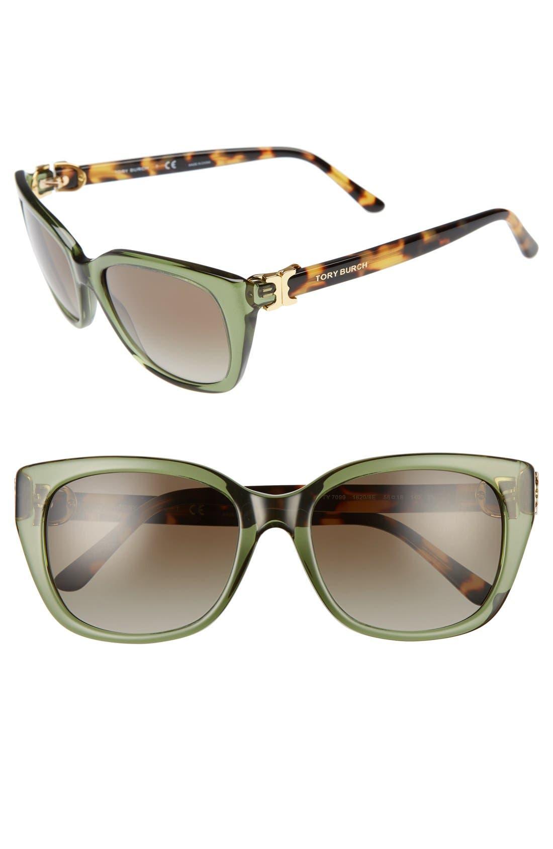 TORY BURCH 56mm Cat Eye Sunglasses