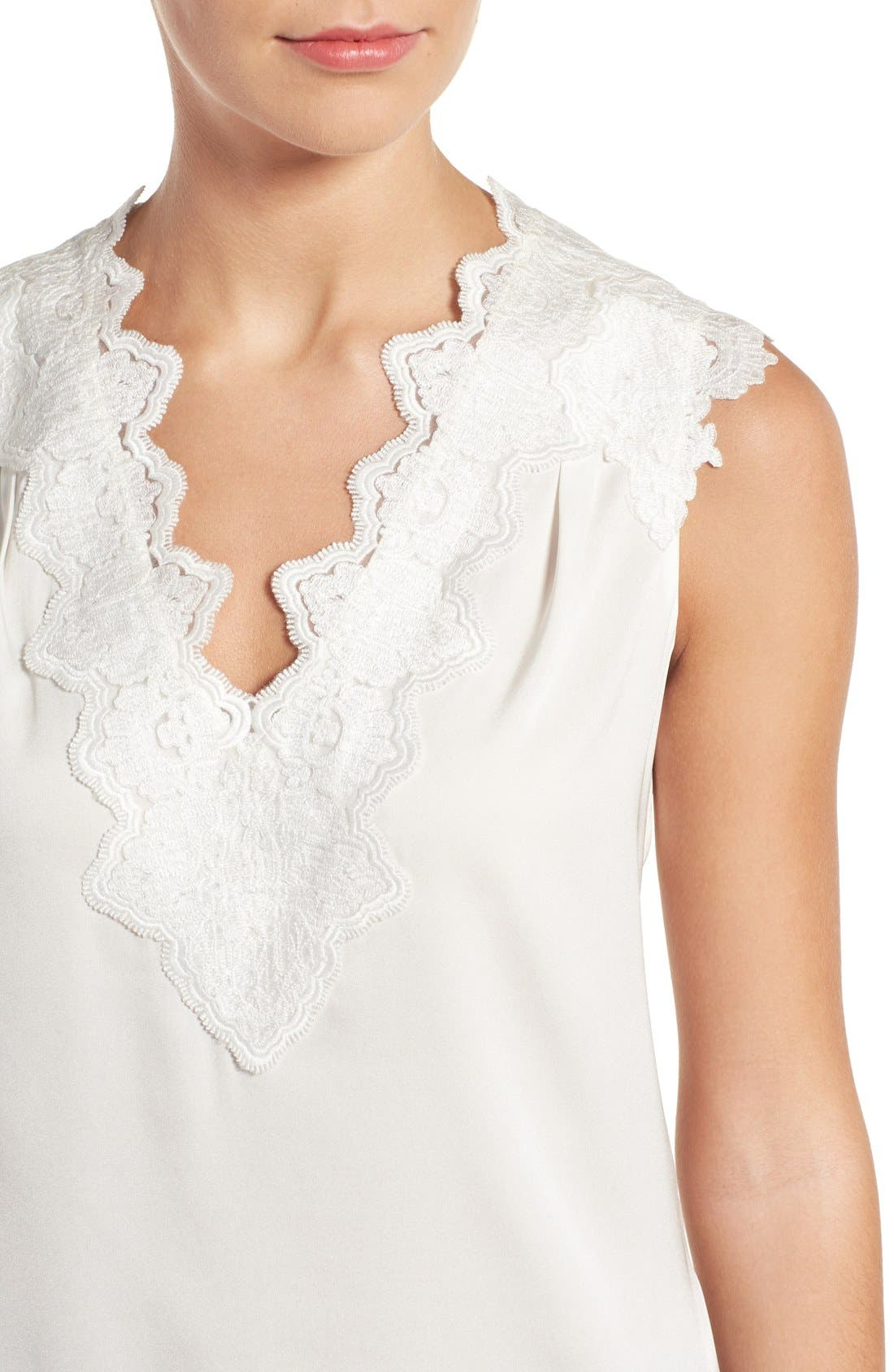 Alternate Image 4  - Kobi Halperin Lana Lace Trim Stretch Silk Blouse