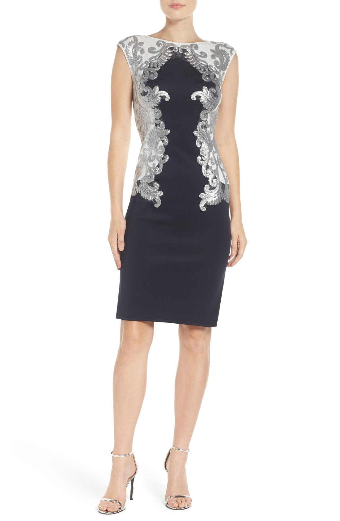Alternate Image 2  - Tadashi Shoji Sequin Neoprene Dress (Regular & Petite)