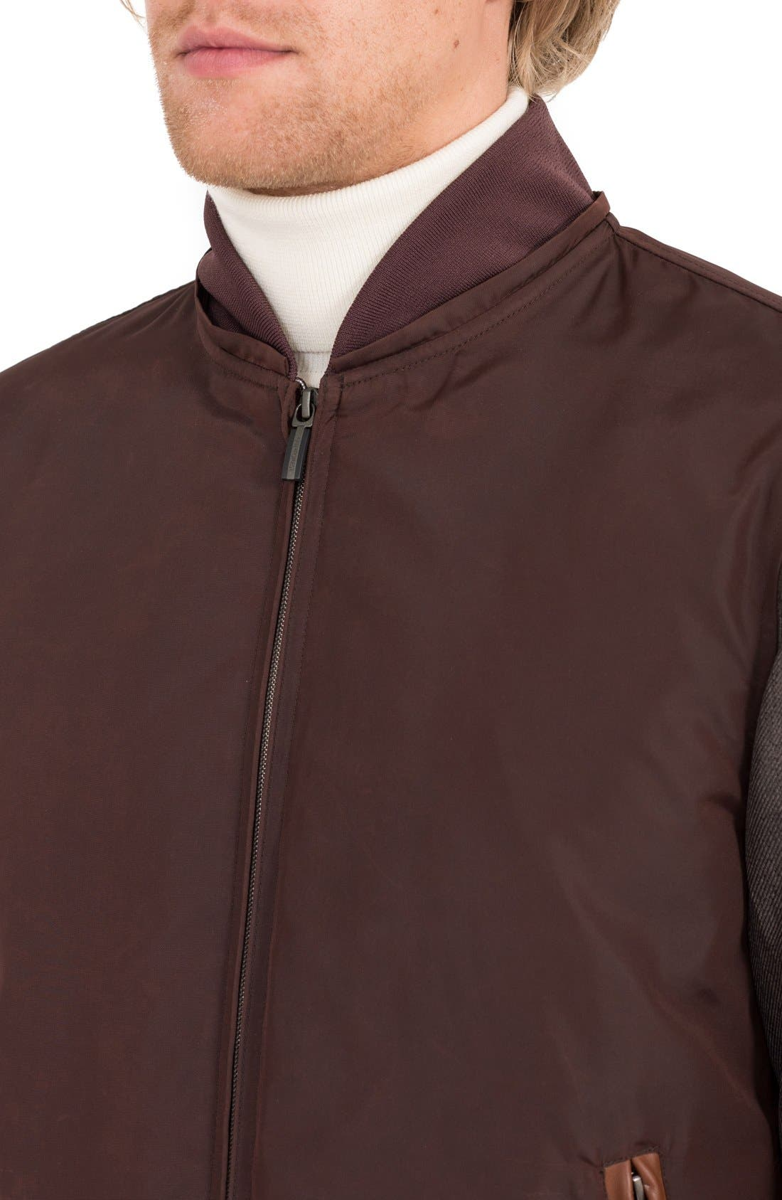 Waxed Nylon Jacket with Faux Shearling Collar,                             Alternate thumbnail 4, color,                             Burgundy/ Acorn
