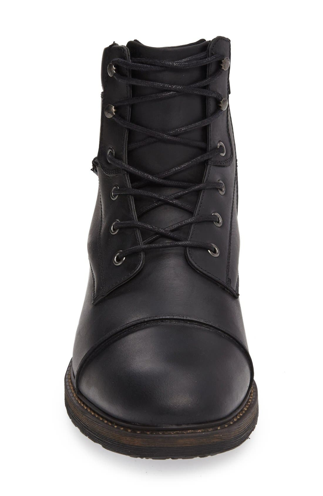 Derek Cap Toe Boot,                             Alternate thumbnail 5, color,                             Black Leather