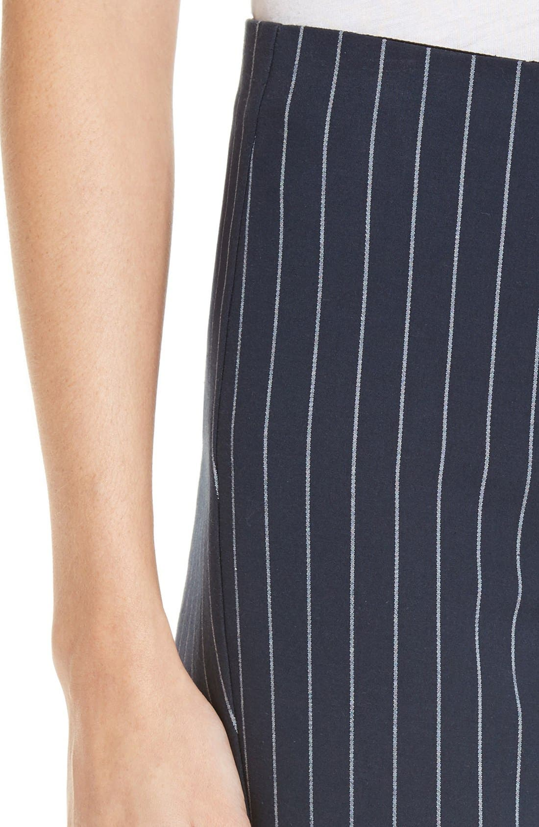 Simone Pinstripe Pants,                             Alternate thumbnail 5, color,                             Salute/ White