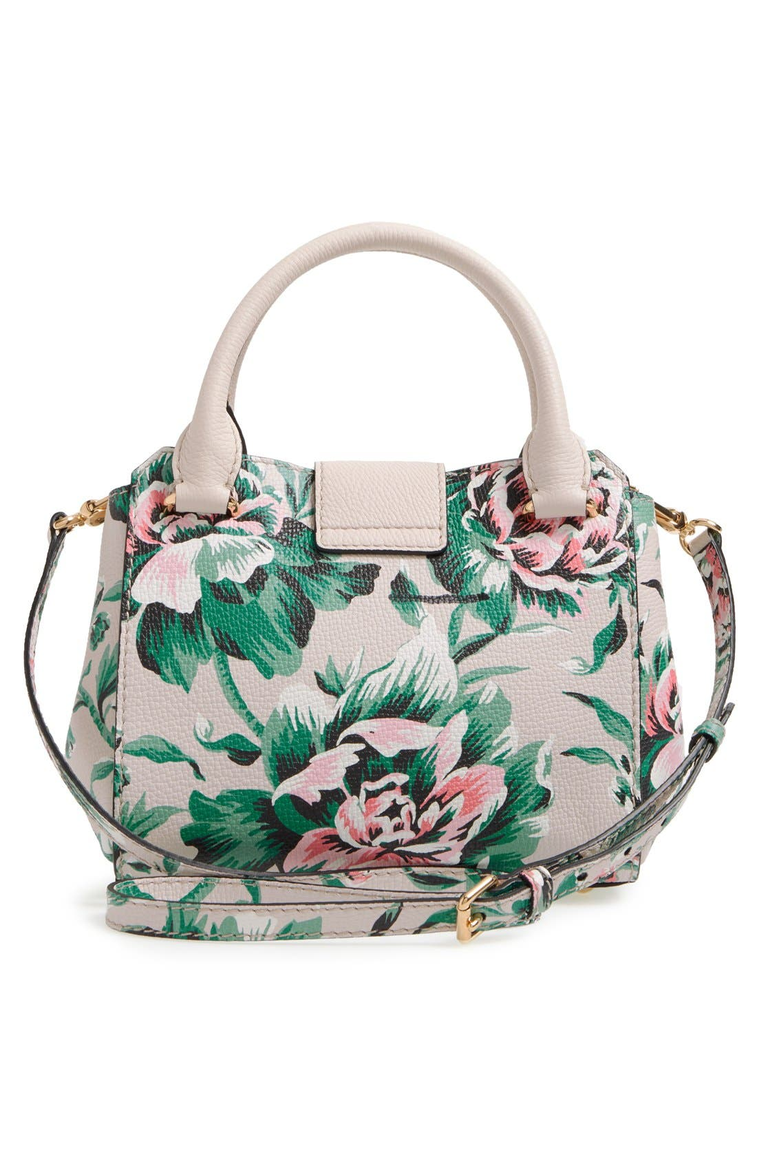 Small Buckle Floral Calfskin Leather Satchel,                             Alternate thumbnail 3, color,                             Emerald Green